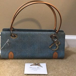 Dior Bags - New Christian Dior Cannage Studded Denim Handbag